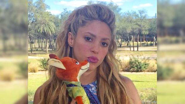 певица Шакира с мягкой игрушкой в руках