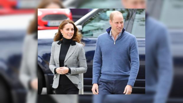 Кейт Миддттон в клетчатом пиджаке и Принц Уильям в голубом свитере
