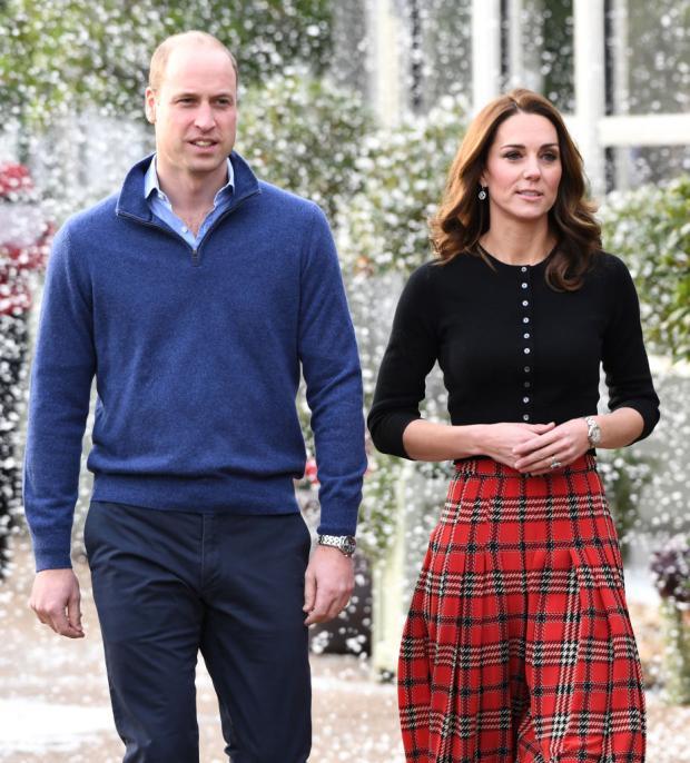 Кейт Миддлтон в красивой клетчатой юбке и Принц Уильям в голубом свитере