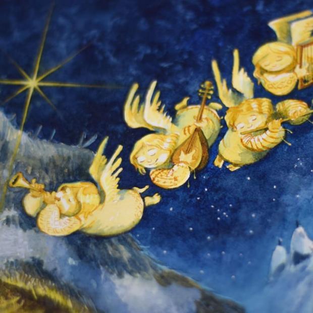 ангелочки летят по рождественскому небу