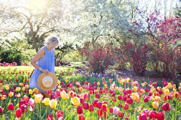 Девушка в голубом платье идет по цветочному полю