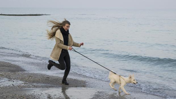 девушка бежит по берегу с собакой