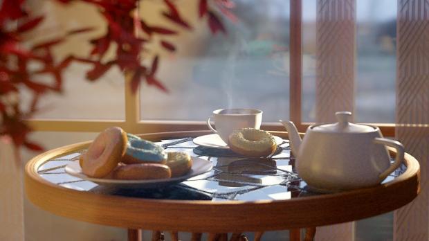 круглый столик с чайным сервизом
