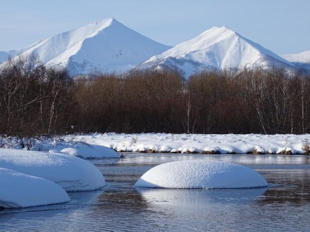 природа, река, снег, горы
