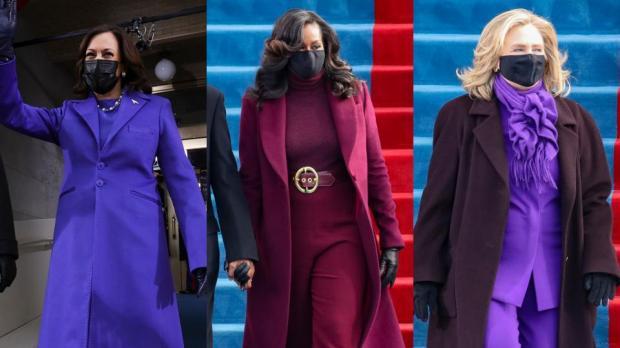 Обама, клинтон и харрис в фиолетовых нарядах