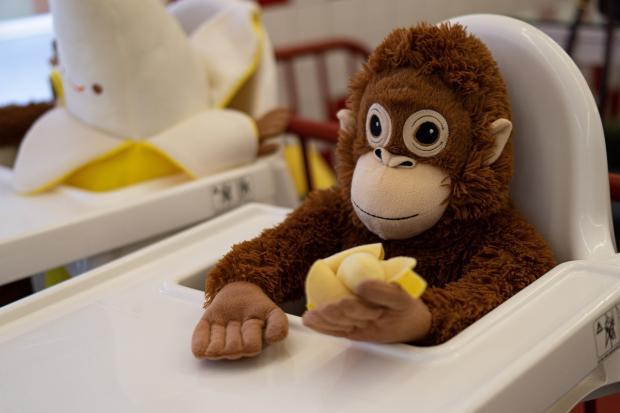 мягкая игрушка обезьяна сидит за детским столиком для кормления