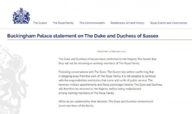 Заявление Букингемского дворца касательно принца Гарри и Меган Маркл