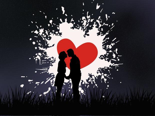 силуэты влюбленных