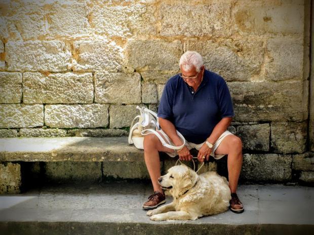 мужчина в возрасте с белой собакой