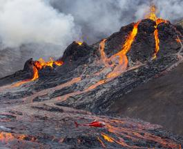 Извержение вулкана в Исландии: зрелищное видео сделанные дронами