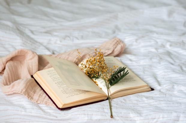 Книга и цветы на ткани