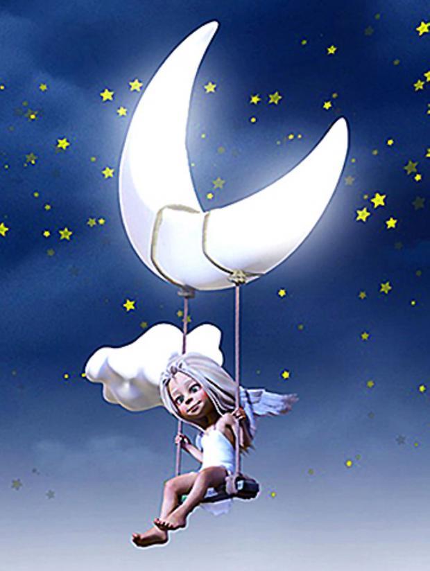 фигурка девочки качается на Луне