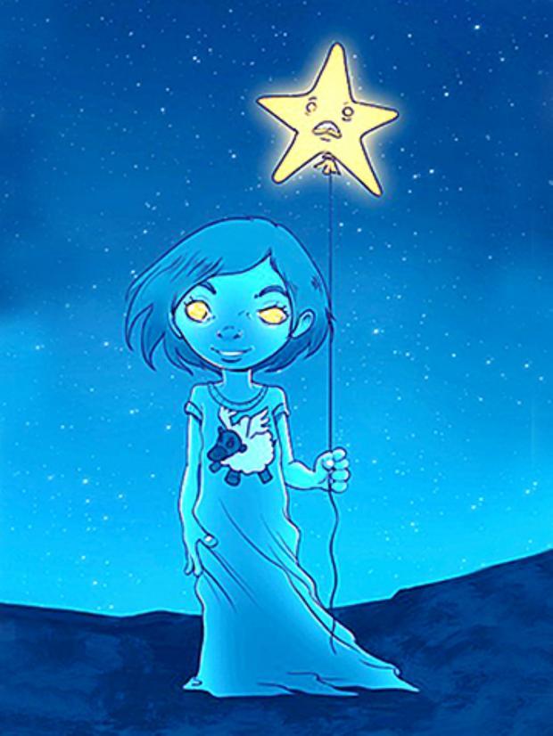 изображение девочки со звездой на нитке в руках