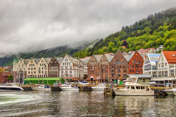 красивый город в Норвегии Берген