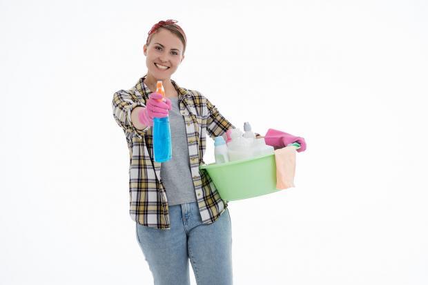 девушка со средствами для уборки в тазу