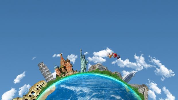 мировые достопримечательности расположились на голубом земном шаре