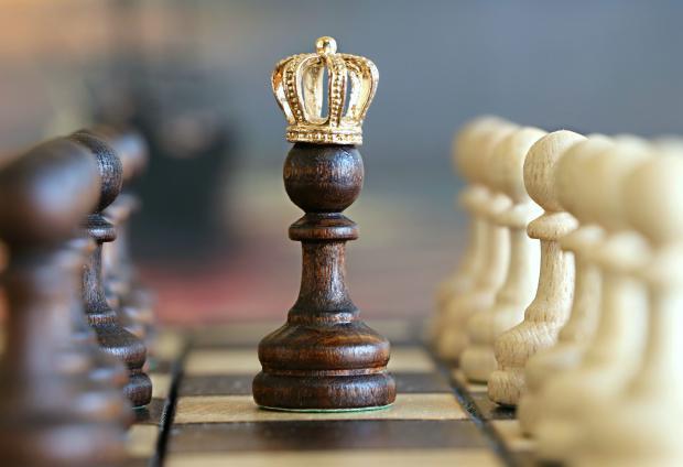 шахматная доска с фигурами, пешка в короне