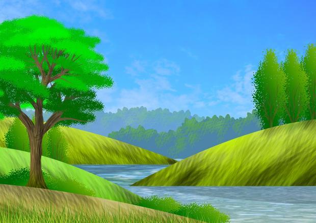 нарисован пейзаж в зеленых оттенках