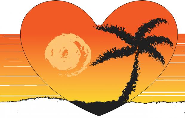 нарисовано оранжевое сердце с пальмой