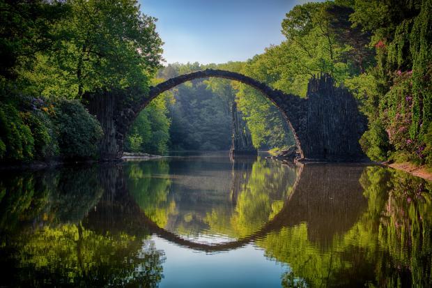 мост, река, лес, отражение в воде