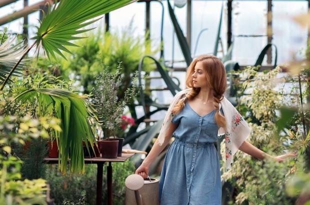 девушка поливает цветы в оранжерее