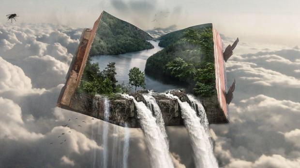 из книги в небесах льется водопад