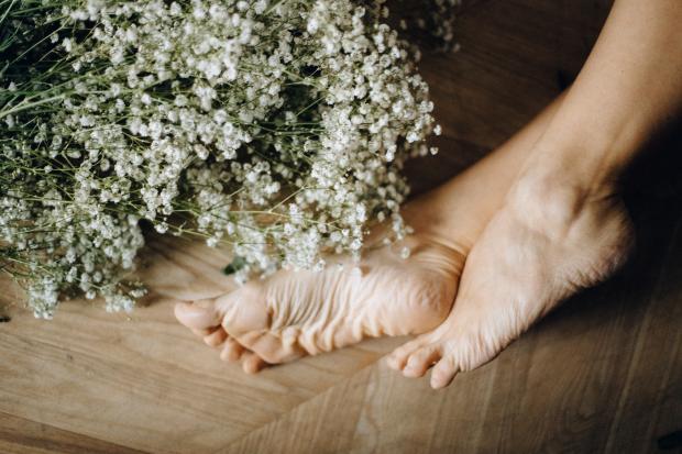женские ноги и белые цветы