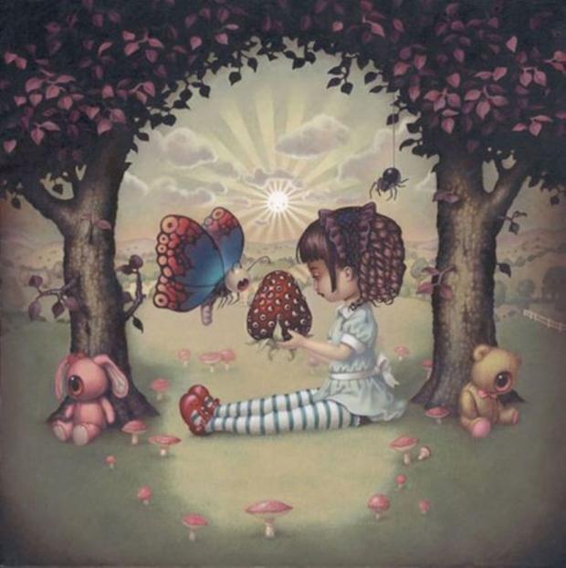 картинка для визуального теста с сидящей под деревьями девочкой
