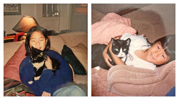 девушки близнецы с кошками