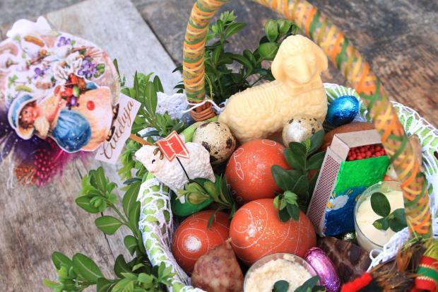 продукты лежат в пасхальной корзине