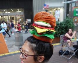 Странные прически в виде пиццы и гамбургера: фото необычных работ стилиста из Мельбурна