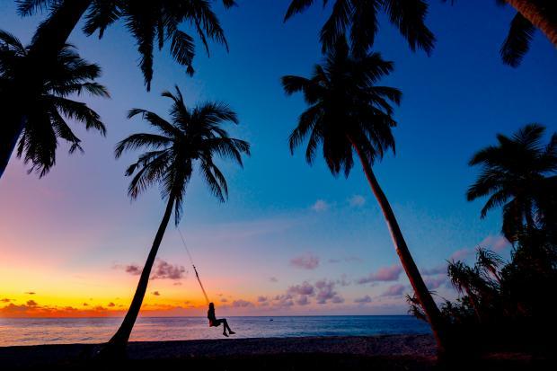 девушка на качелях на тропическом острове