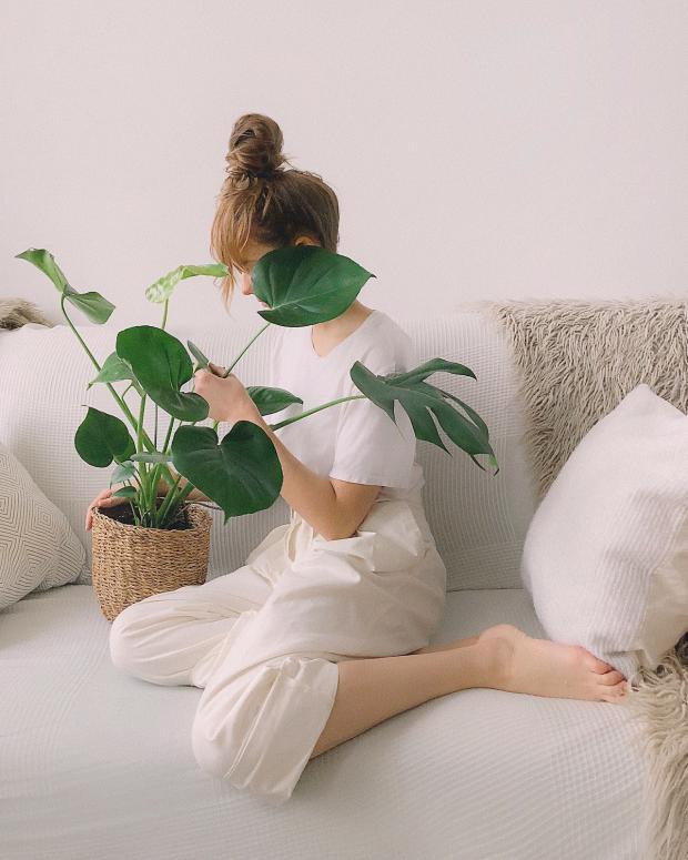 девушка в белом костюме рассматривает горшок с цветами на белом дивване