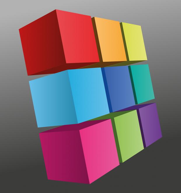 9 разноцветных кубиков