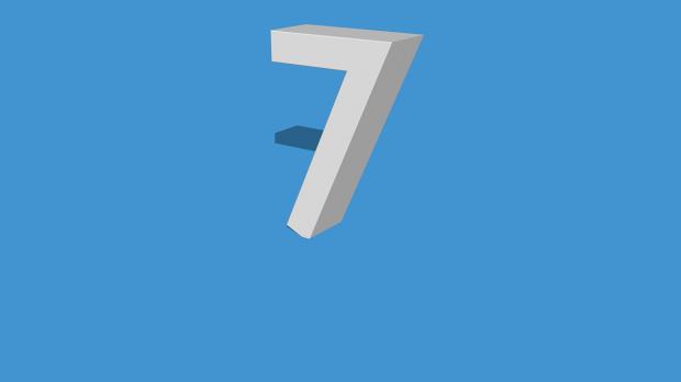 цифра 7 на голубом фоне
