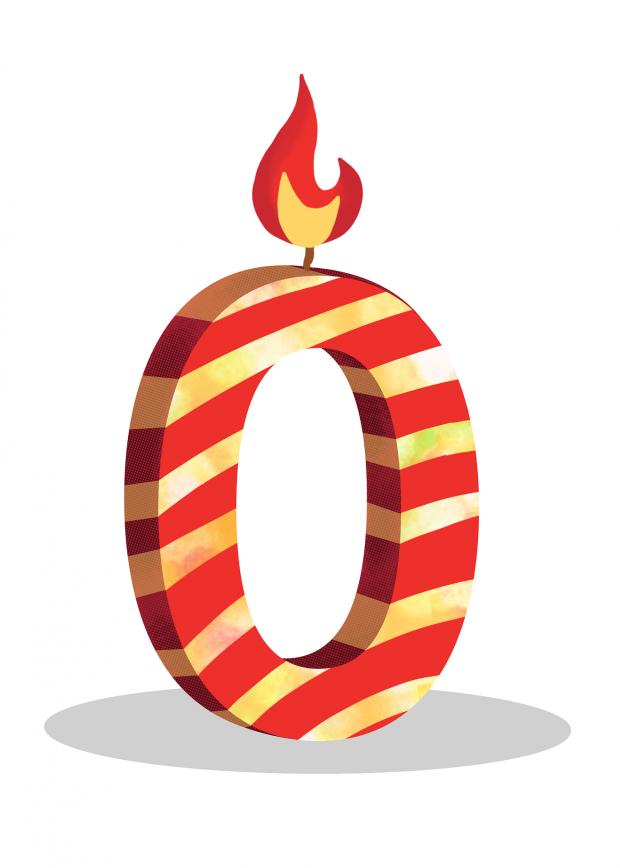 цифра 0 в виде праздничной свечи