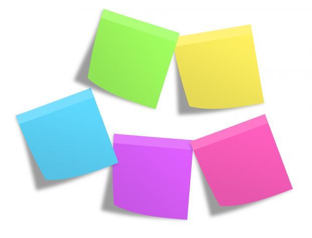 разноцветные бумажки для записей