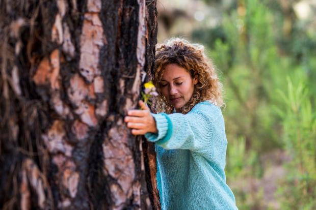 девушка в голубом свитере обнимает дерево