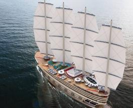 """158-метровая суперяхта с четырьмя парусами и восемью палубами: фото проекта """"Галеон"""""""