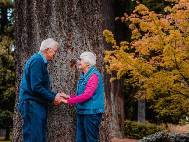 пожилая пара взялась за руки у большого дерева