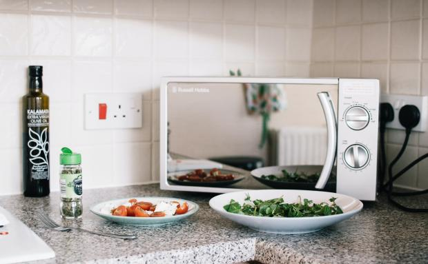 микроволновая печь, две тарелки с едой
