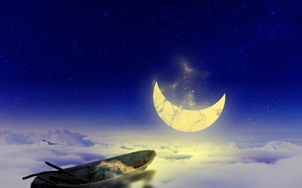 по голубому небу плывет лодка к лунному месяцу