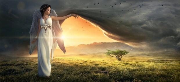 ангел приподнимает занавес над будущим