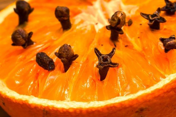 в разрезанный апельсин воткнуты зубчики гвоздики