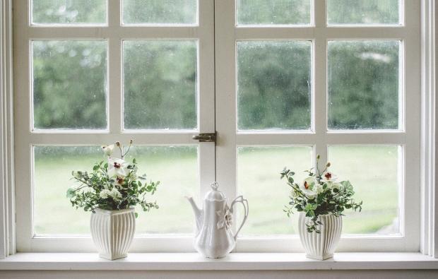 на большом окне стоят горшки с цветами и белый чайник
