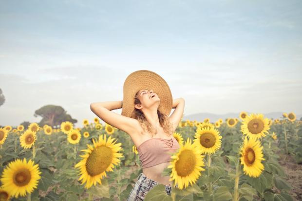девушка в шляпке на поле с подсолнухами