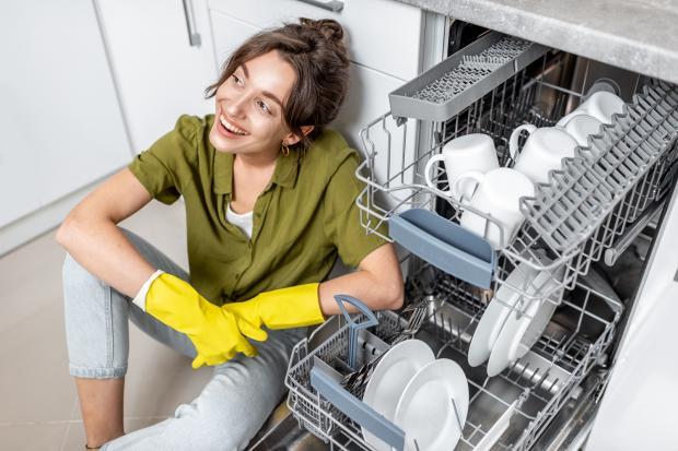девушка сидит возле посудомоечной машины