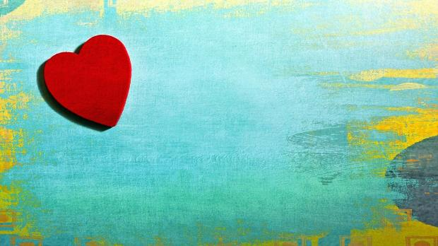 нарисовано красное сердце