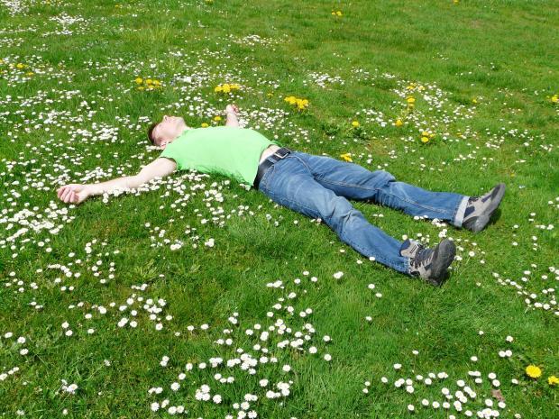 мужчина лежит на угу с травой и цветами
