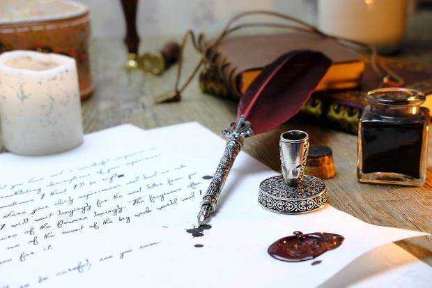 письма написано пером